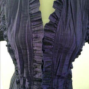 Purple shirt Ruffle shirt Tailored button down